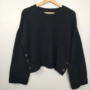 Topshop Sweater Cropped Button Sides Dark Blue 8